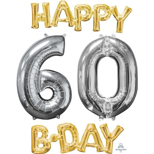 """Happy 60 B-Day"" Phrase & Number Bunch"
